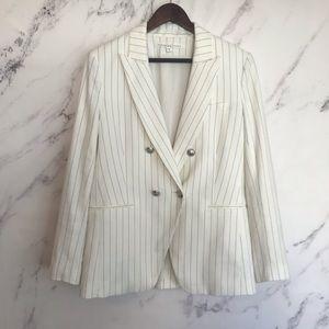 Veronica Beard White and Blue Stripe Blazer